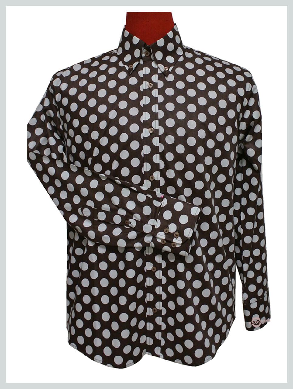Polka Dot Shirt| Mens Big White Dot Brown Polka Dot Shirt Uk
