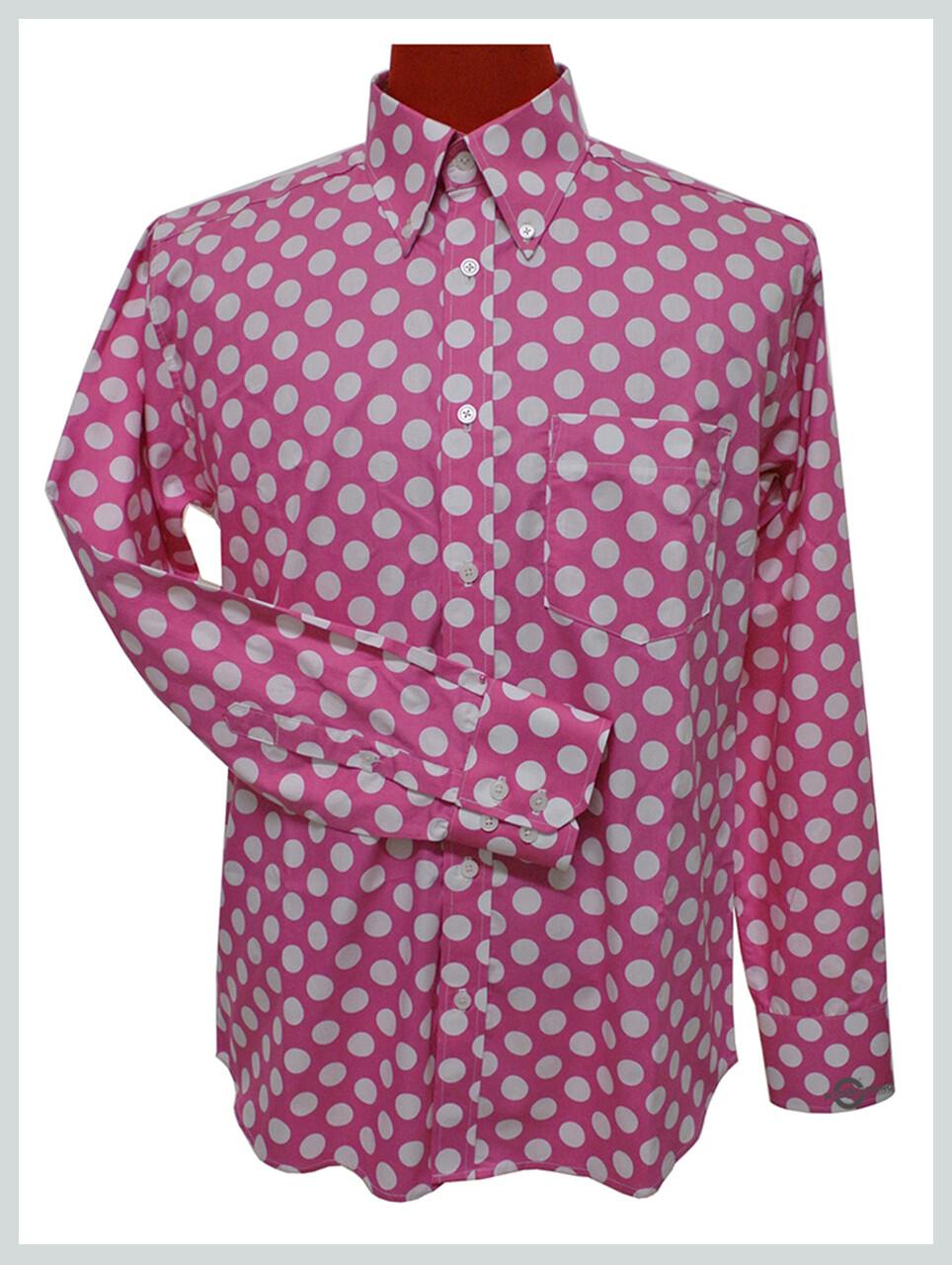 Polka Dot Shirt| Mens Slim Fit White Dot In Light Pink Shirt