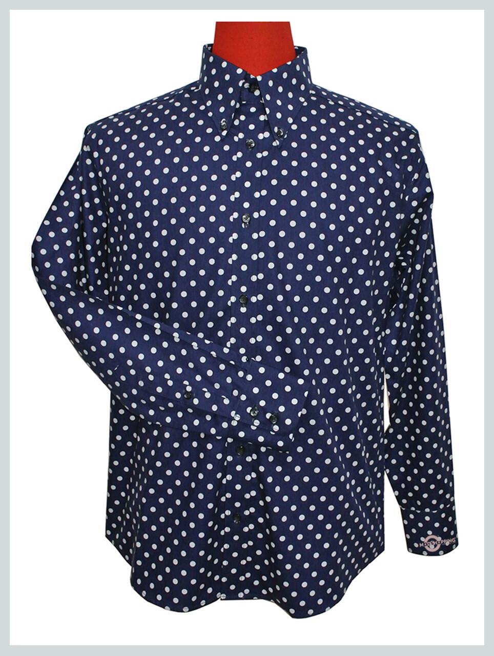 Polka Dot Shirt| Mens Slim Small White Dot Navy Blue Colour Shirt