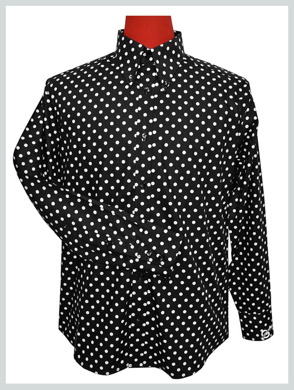 Polka Dot Shirt| Mens Sim Fit Small White Dot In Black Shirt Uk