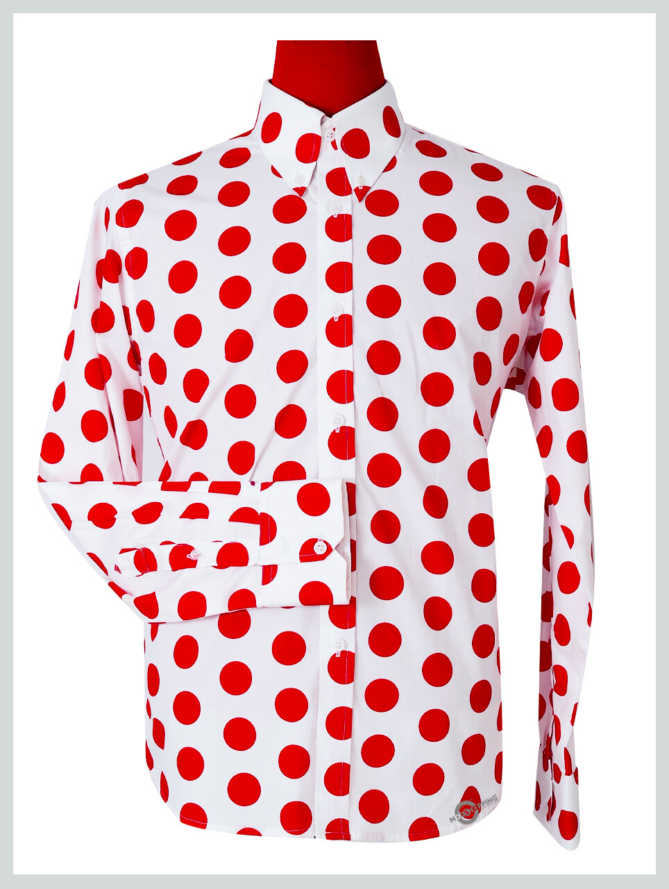 Polka Dot Shirt| Large Red Dot In White Shirt For Man