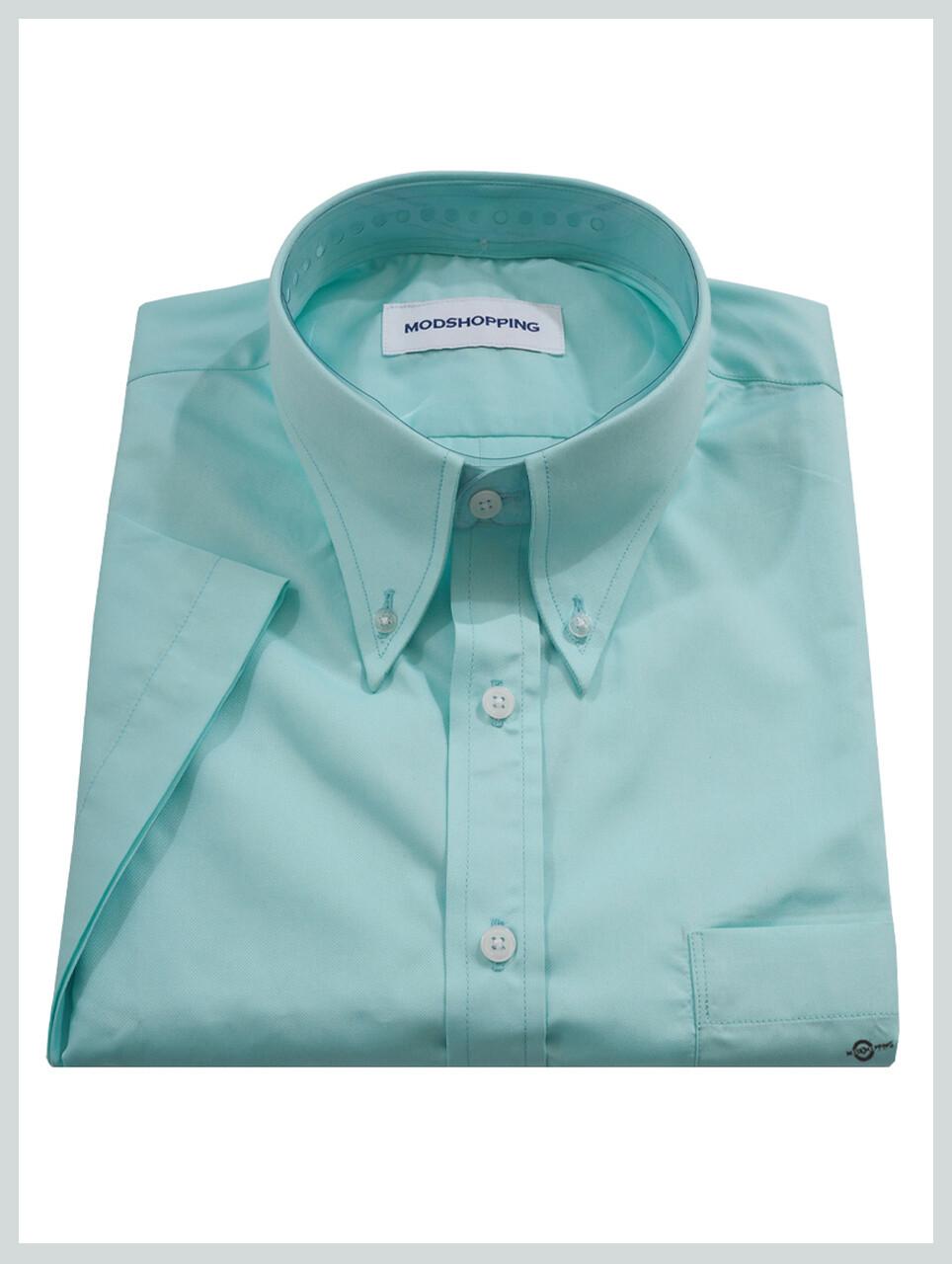Short Sleeve Shirt | 60S Mod Style Sea Green Color Shirt For Man