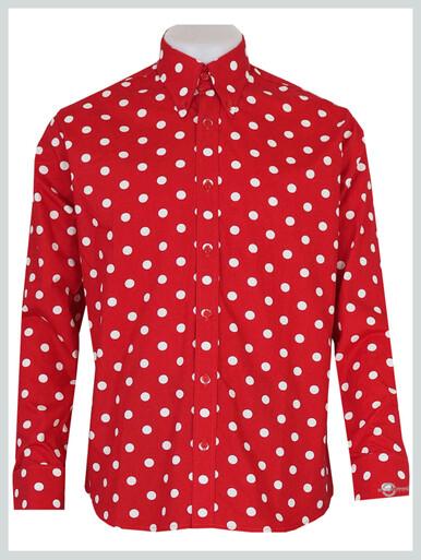 Polka Dot Shirt| 60s Mod Large White Dot In Red Polka Dot Shirt For Men
