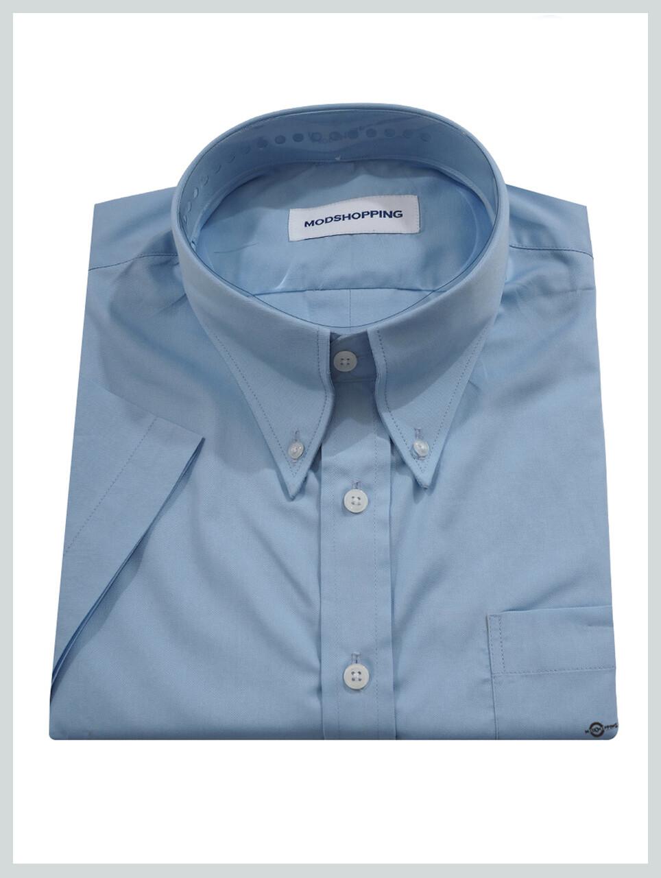 Short-Sleeve Shirt | 60S Mod Style Light Sky Blue Color Shirt For Man