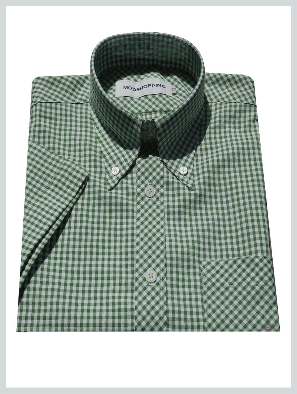 Green Gingham Shirt Green Short Sleeves Gingham Shirt Uk