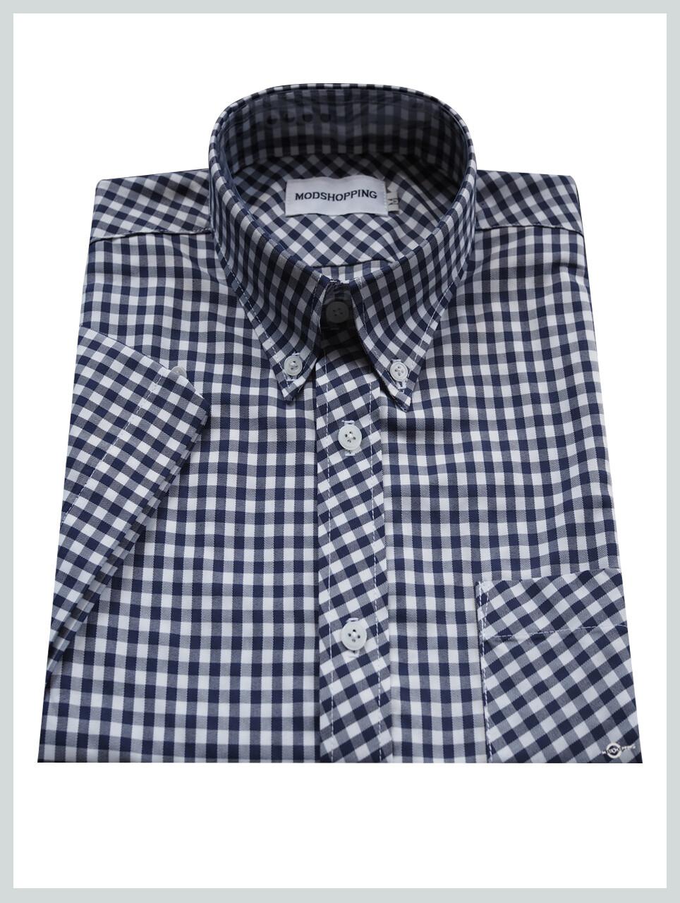 Gingham Shirt  Slim Fit Navy Blue Retro Gingham Check Shirt For Men