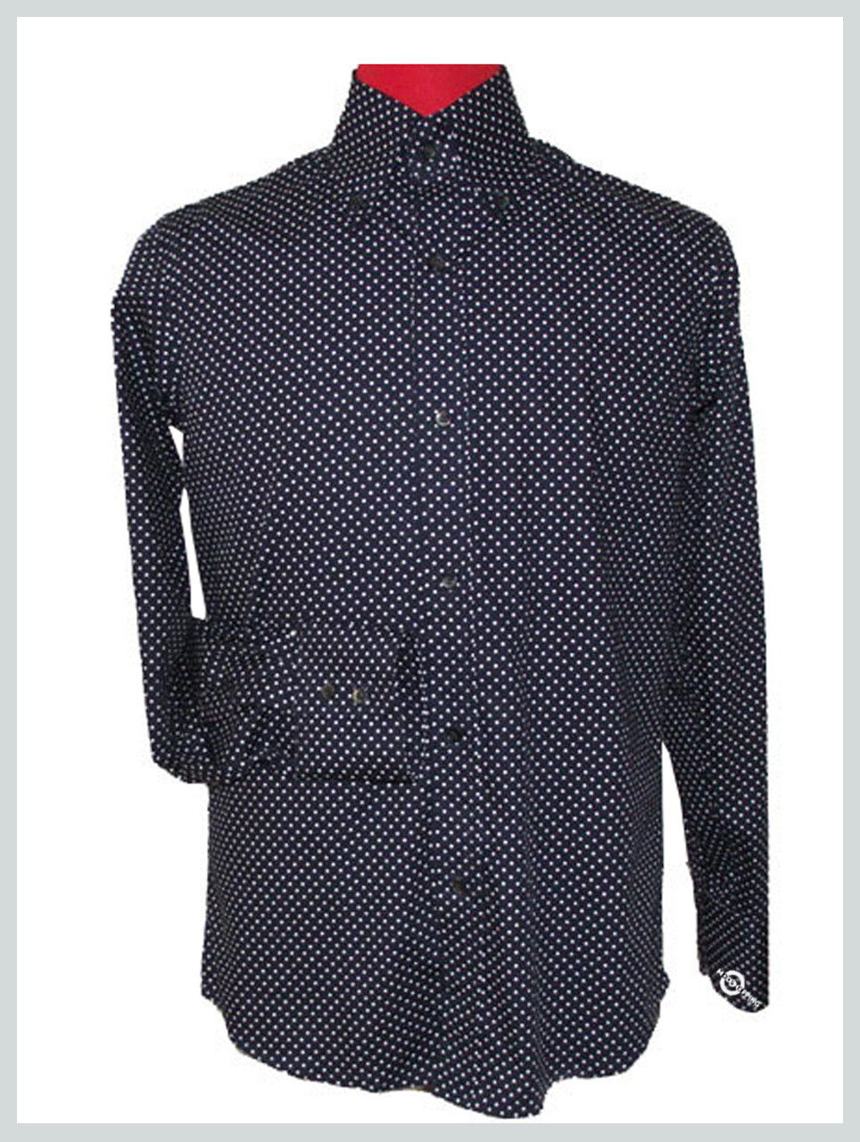Made To Measure Navy Blue Polka Dot Shirt For Men