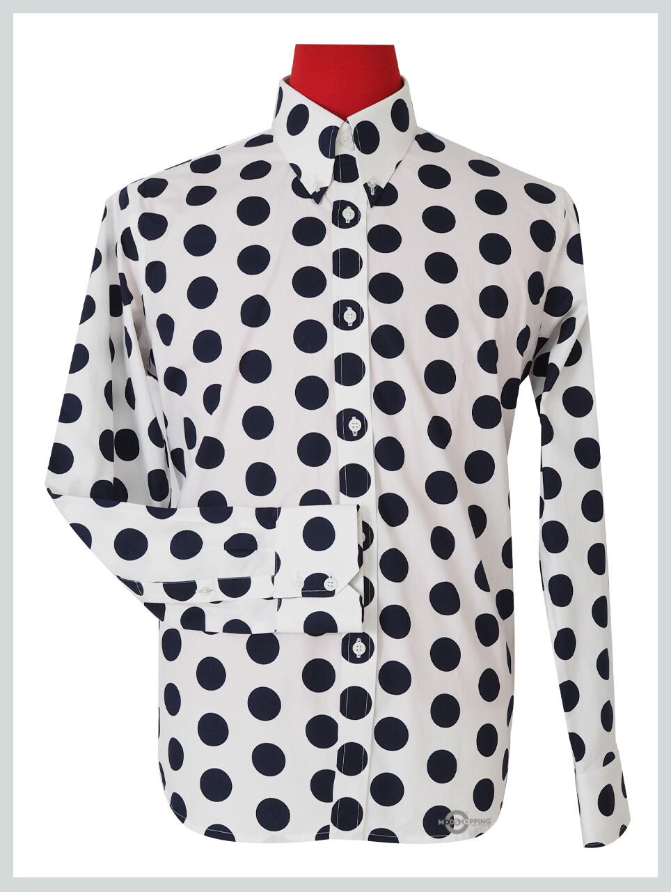 Polka Dot Shirt| Large Dark Navy Blue Dot In White Shirt For Man