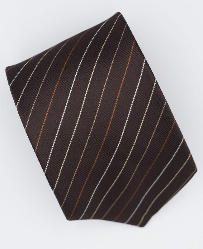Chocolate Brown Striped Silk Tie