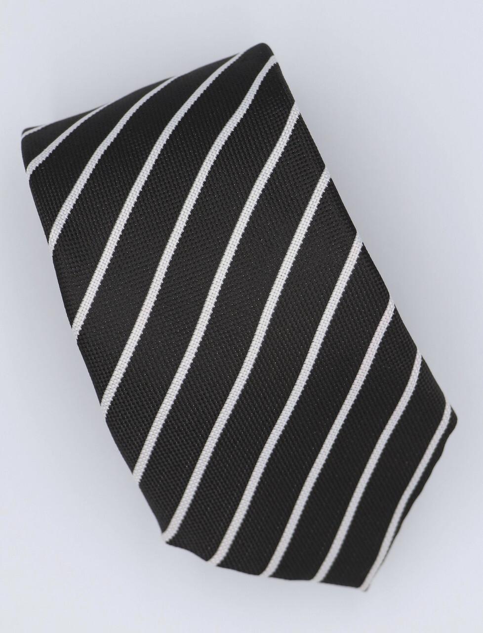 Black And White Striped Silk Neck Tie