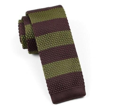 Knitted Tie  Olive & Green Stripe 60s Retro Silk Skinny Knit Ties Uk