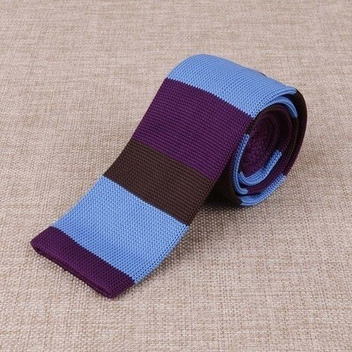 Knitted Tie  Mod Clothing Vintage Purple & Sky Stripe Knit Ties Uk