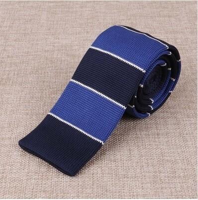 Knitted Tie  Blue & Navy Blue Stripe 60s Mod Vintage Silk Uk Knit Ties