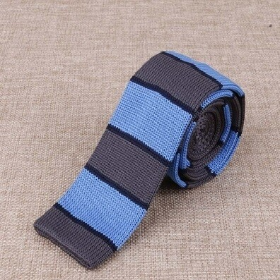 Knitted Tie  Sky & Grey Stripe 60s Mod Vintage Silk Uk Knit Ties