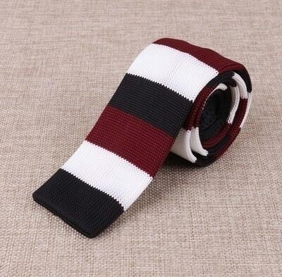 Knitted Tie  Retro Vintage Style Burgundy Stripe Mens Knit Tie
