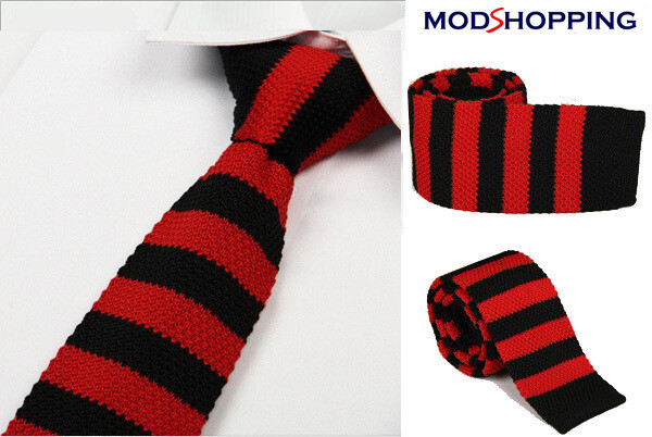 Knitted Tie| 60s Mod Clothing Retro Black & Red Tie For Men