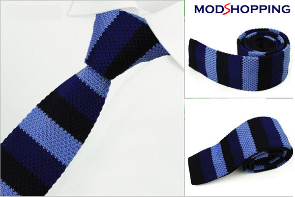 Knitted Tie  60s Mod Retro Sky & Navy Knit Ties For Men