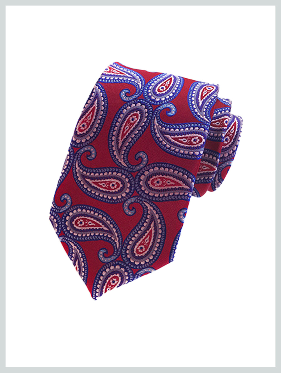 Knitted Tie | Red Blue Paisley Tie