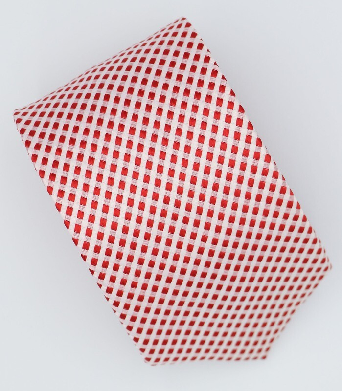 Red Dot In White Silk Neck Tie