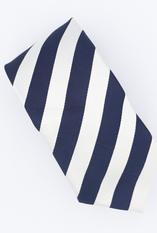 Navy Blue And White Striped Neck Tie