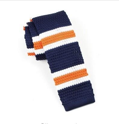Original 60s Mod Style White & Navy Blue Orange Stripe Knitted Tie For Men