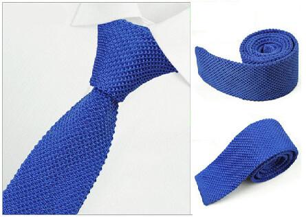 Royal Blue Knitted Tie  Mens Slim Skinny Tie