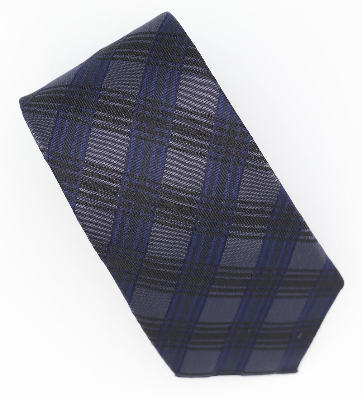 Grey Check Navy Blue Neck Tie