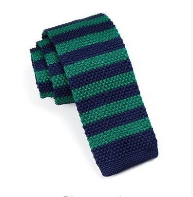 Knitted Tie  Classic Forest Green & Navy Blue Stripe 60s Retro Silk Skinny Knit Ties Uk