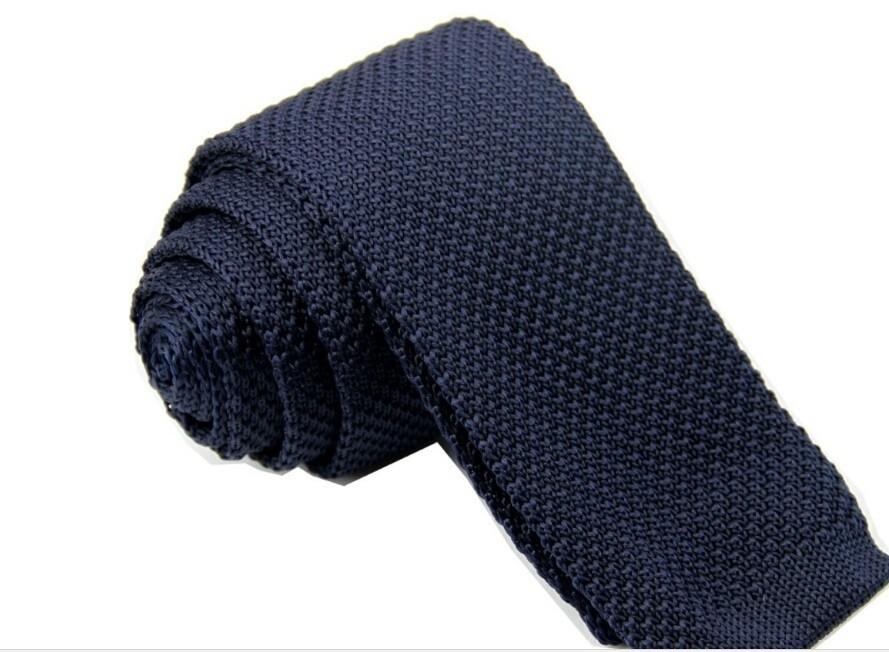 Men's Navy Blue Classical Knitted Tie| Slim Skinny tie