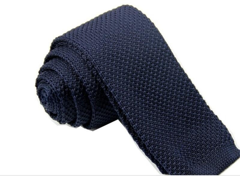 Men's Navy Blue Classical Knitted Tie  Slim Skinny tie
