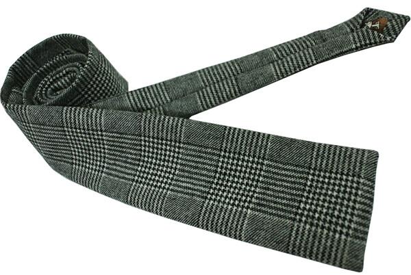 Prine Of Wales Check Wool Pow Grey Narrow Neck Tie For Men