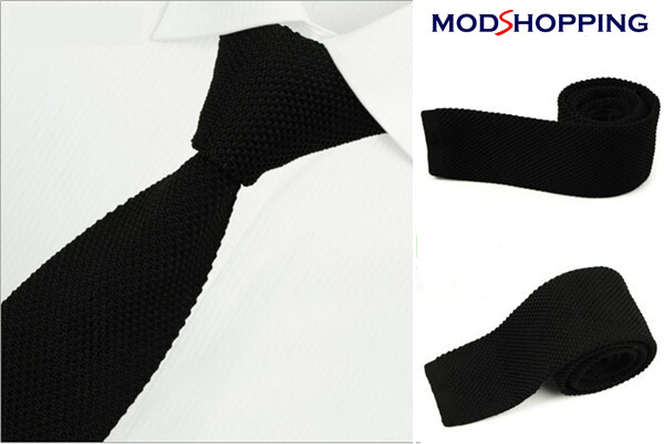 Black Knitted Tie| Retro Black Slim Tie, Men's Wedding Ties