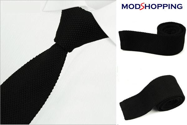 Black Knitted Tie  Retro Black Slim Tie, Men's Wedding Ties