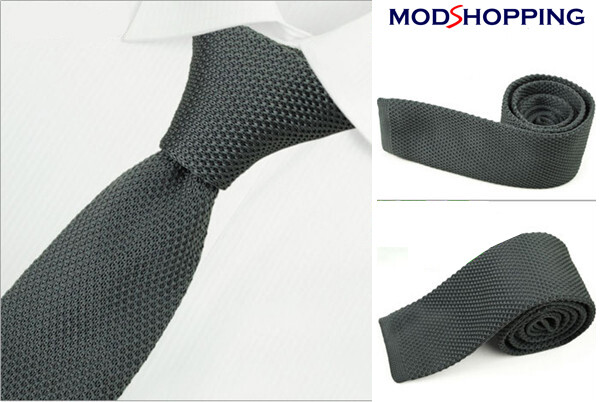 Grey Knitted Tie  Uk Mod Clothing Classic Grey Tie For Men