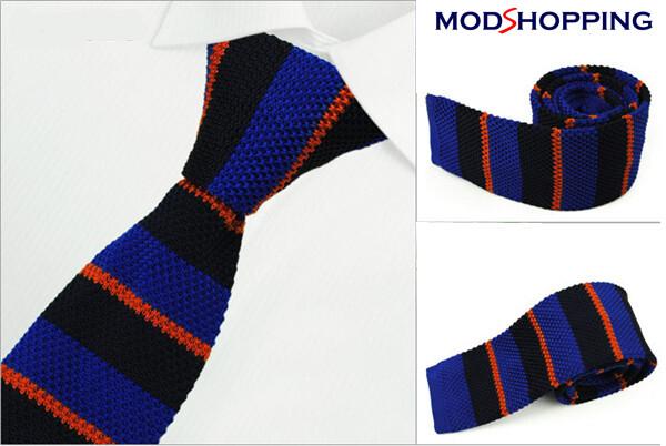 Knitted Tie  Retro Black & Blue Tie, Mens Wedding Ties