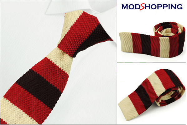 Knitted Tie  Classic Retro Red & Beige Knitted Tie Mens