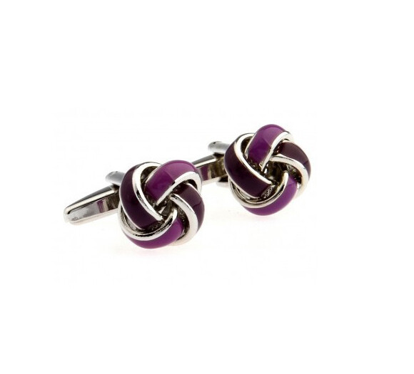 Men's Classic Stainless Steel Purple Knots Cufflinks At Modshopping