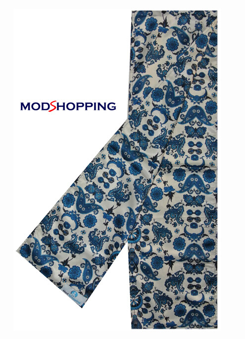 Original Vintage Style Flower Blue Paisley Scarf For Men