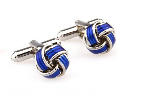 60s Mod Clothing Stainless Steel Blue Knots Cufflink For Men