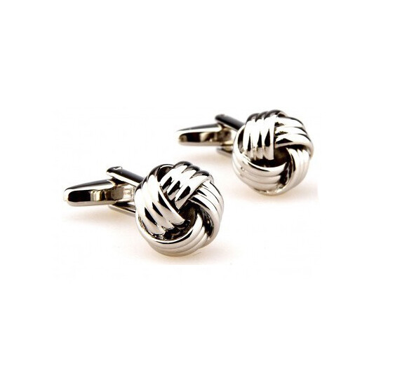 Stainless Steel Silver Knots Cufflinks For Men, Men's Slim Fit