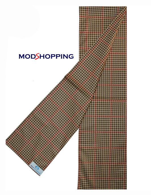 Vintage Mod Fashion Brown Dog-Tooth Scarf Retro Scarf For Men