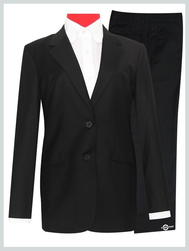 Women's Suit Tailored 2 Button Black Mod Suit