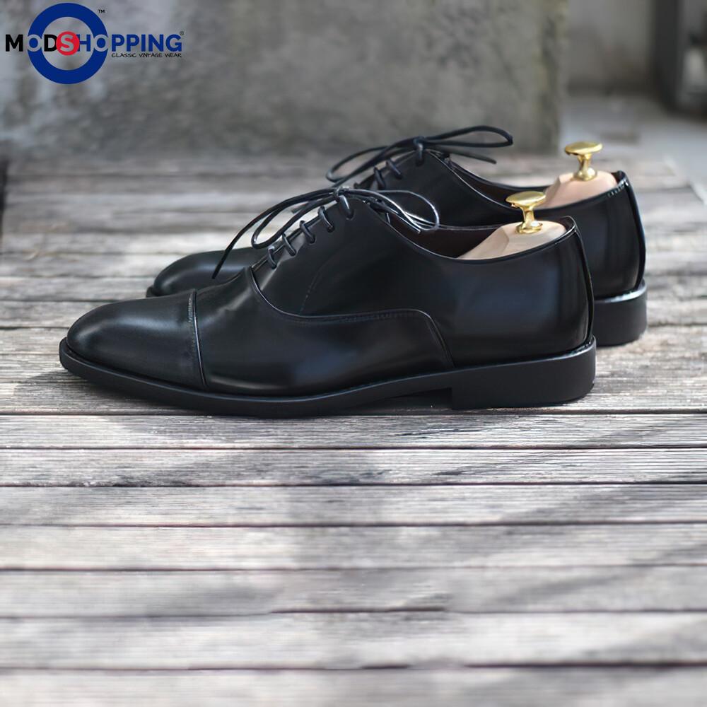 Leather Shoe Cap Toe Oxford (Black) Oxford Shoes