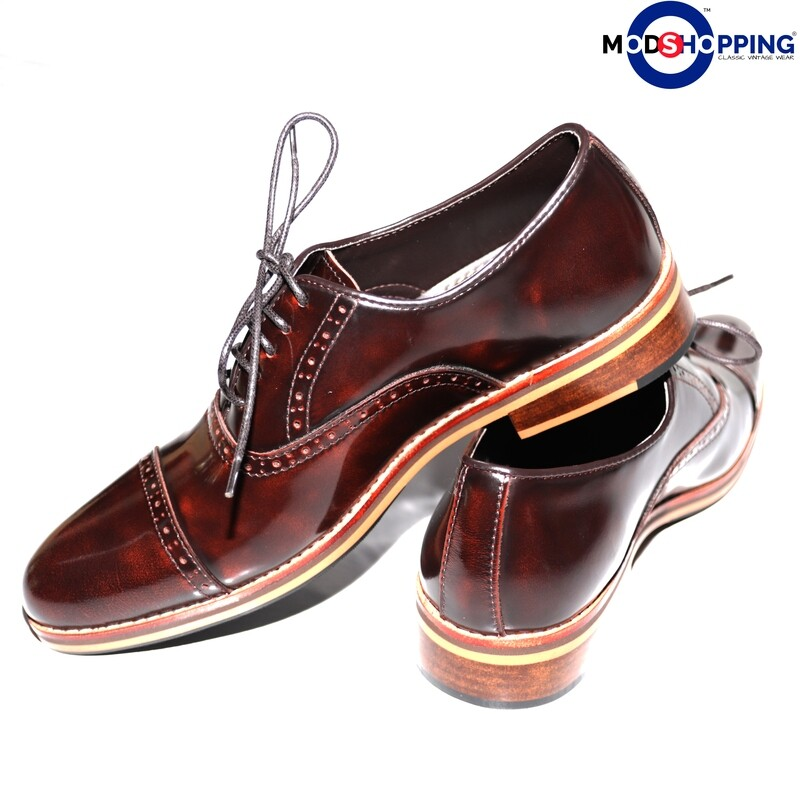 Leather Shoe Brogue Oxford Dark Brown Color