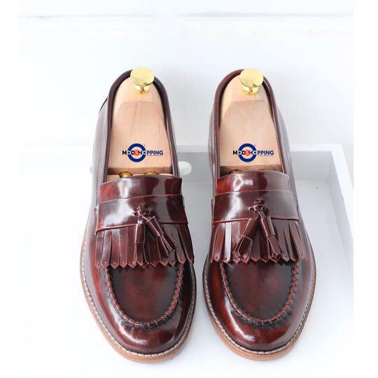 Dark Brown Tassel Loafer Leather Shoe For Men's