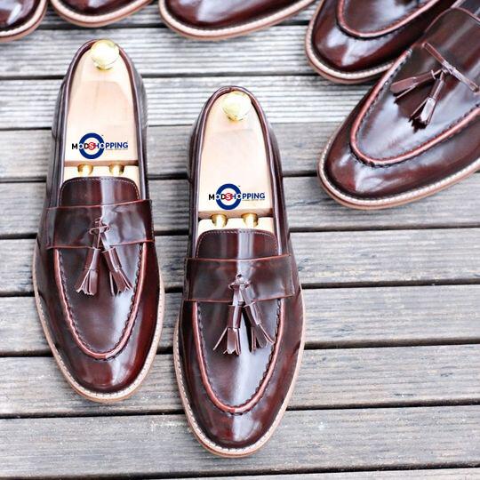 Leather Shoe Wild Tassel Loafer ( Dark Brown ) Premier Loafer