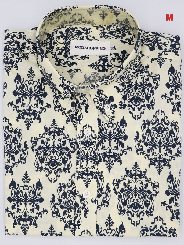 This Shirt Only. Black And Off White Flower Pattern Shirt