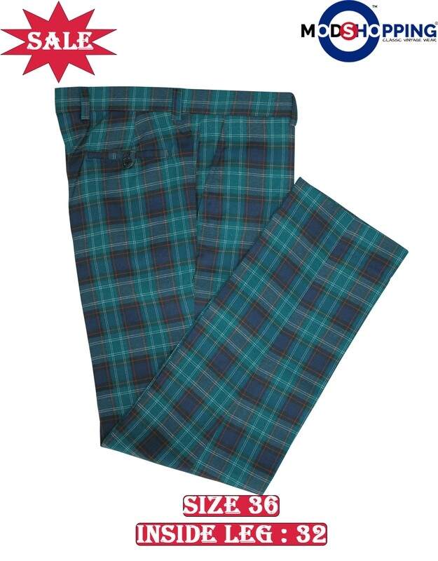 This Trouser Only. Madras Check Green & Navy Blue Trouser