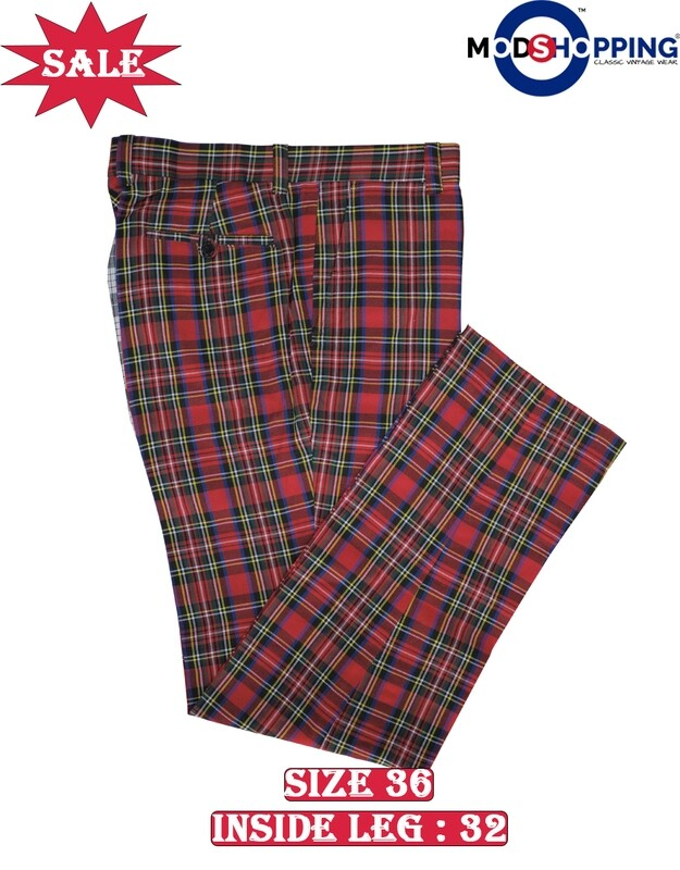 This Trouser Only. Madras Check Red Formal Trouser