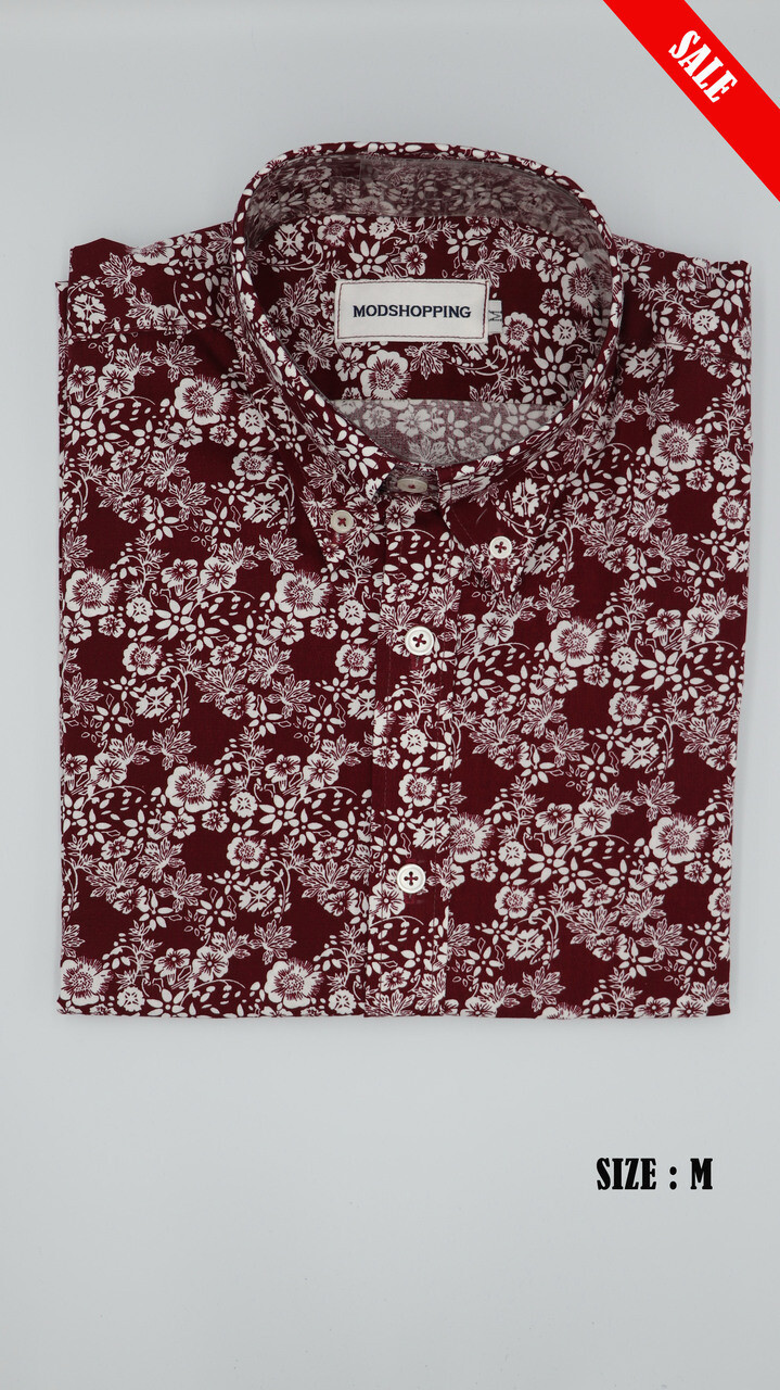 This Shirt Only Burgundy & White Flower Shirt.